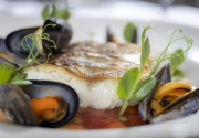 Clayton Roasted hake fillet, braised butter beans, mussels, capers, rich tomato sauce-15